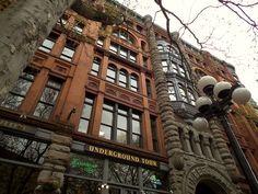 Historic Seattle offers up Pioneer Square, providing an interesting blend of brick, stone, iron and moss Seattle Times, Destruction, Washington State, Brick, Sidewalk, Iron, Boat, Architecture, Beautiful