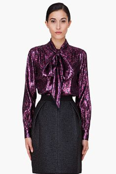 Marc Jacobs Pink Flower Lamé Blouse for Women | SSENSE