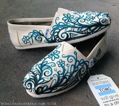 Custom TOMS Hand painted by artist Chelsea Rose on Etsy, $110.00