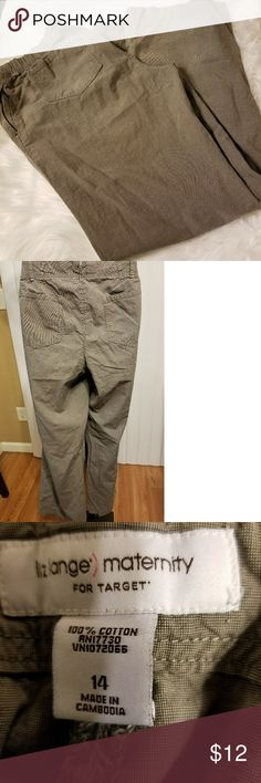 Maternity pants 29 inches in length.  Wear shown at the bottom of pants in 6th picture Liz Lange for Target Pants