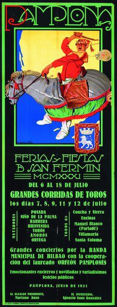 Cartel de los Sanfermines de 1931 - Fiestas y ferias de San Fermín, Pamplona :: Autor: A. Cerezo Vallejo #Pamplona