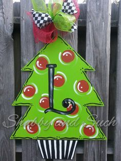 Door Hanger Christmas Tree Door Hanging, Door Decor, X-LARGE, Holiday, Includes Personalization!!