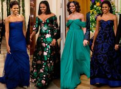 The first lady has sported stunning gowns at eight of the annual ceremony