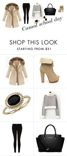 """""""casual school day"""" by klara-kandare ❤ liked on Polyvore featuring Blue Nile, Current/Elliott, MICHAEL Michael Kors, Natasha Accessories, women's clothing, women, female, woman, misses and juniors"""