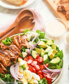 Cajun Chicken Avocado Salad - quick and easy healthy salad with cajun-flavored chicken and slices of avocados; tossed with a refreshing salad dressing. A great go-to meal anytime of the year!