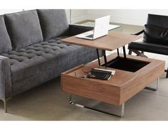 Evo is so much more than just a coffee table. One side of the tabletop lifts to a height of 62cm (24.5in) for working or dining. Underneath the retractable top? A concealed storage compartment, with additional drawer on the right. But hidden functionality is only part of Evo's attraction. Gleaming steel legs and a stylish finish mean it's got plenty of surface appeal, too.