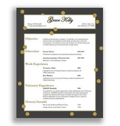 So Cute Resume Template Grace Kelly Instant Download By  ClassyWomanBoutique, $12.00