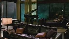 Architecture, Comely Swanky 'When A Stranger Calls' Movie House Setting: Posh Classic Interior Design. Great room with glass walls, a grand piano, and rich, warm colors. Living Room Objects, Living Spaces, Living Area, Cullen House Twilight, When A Stranger Calls, Glass Room, Glass Walls, Classic Living Room, Live In Style