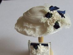 1/12th scale dollhouse iniature handmade silk hat and matching bag