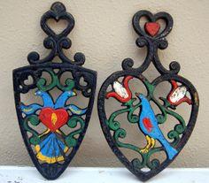 Painted Cast Iron Trivets PA Dutch Folk Art by TheRecycleista, $14.00 #padutch #folkart