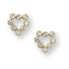 Yellow Gold CZ Heart Kids Earrings from www.thejewelryvine.com