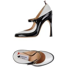 Thom Browne Court ($450) ❤ liked on Polyvore featuring shoes, pumps, white, white shoes, white pumps, white leather pumps, white leather shoes and white mary janes