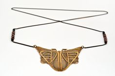 Long Necklace Art Deco, Butterfly Pendant, Black Beads and Retro Chain