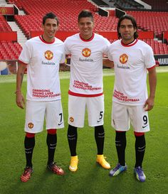 @manutd stars Angel Di Maria, Marcos Rojo and Falcao show their support for Manchester United Foundation.