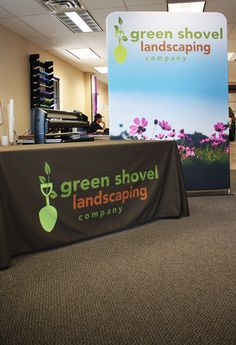 landscaping banner stand and table throw for a home and garden trade show - Home And Garden Trade Shows
