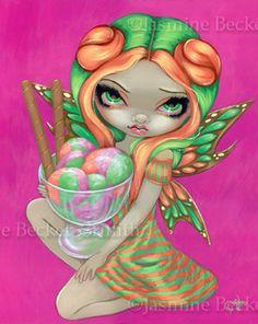 Rainbow sherbet Fairy - Big eyed ice cream fairy art by Jasmine Becket-Griffith