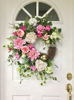 Spring Wreath-Summer Wreath-Hydrangea Wreath-Easter