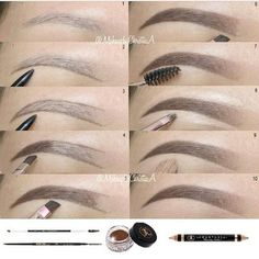 Ombre eyebrows routine using ' products Brow wiz in Brunette to outline Dipbrow Pomade in Chocolate to fill in - May 04 2019 at Eyebrow Makeup Tips, Makeup 101, Makeup Goals, Skin Makeup, Makeup Inspo, Eyeshadow Makeup, Makeup Inspiration, Makeup Brushes, Easy Makeup Tutorial