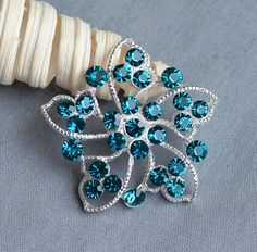 5 Turquoise Blue Rhinestone Button Crystal Embellishment Wedding Brooch Bouquet Hair Comb Shoe Clip Teal Tiffany Blue BT383