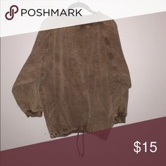 """Urban Outfitters Yeezy Inspired Throw The tag is faded but it's urban outfitters. It has a drawstring around the waist and it hits just below the bottom (I am 5'8"""") when pulled down. Has a brownish tan color and almost a deep olive tint. I purchased this on Poshmark but didn't have any use for it. It's practically brand new! Size large. Material feels like a jean jacket. Urban Outfitters Jackets & Coats Utility Jackets"""