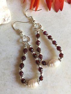 d484446e982e Fresh water pearl and garnet dangle earrings