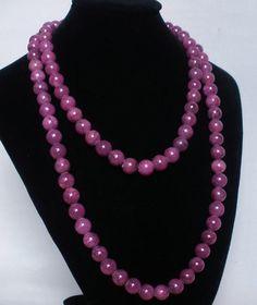 Superb 54inch Chinese Tibet Purple Jade Gemstone Bead Long Necklace
