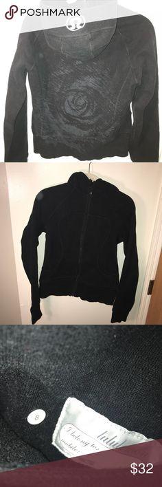 Lululemon Scuba Hoodie in Black Black full zip hoodie, size 8, gray floral stencil on the back lululemon athletica Tops Sweatshirts & Hoodies