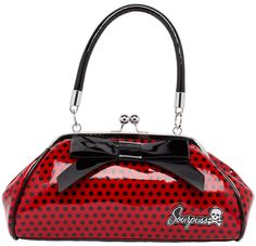 "SOURPUSS FLOOZY PURSE RED/BLK POLKA DOT Lookin' for that perfect pinup purse?! Look no further than the Sourpuss Floozy! This vintage inspired, red & black polka dot vinyl purse features a 7"" vinyl bow across the one side, kiss lock closure, ""Sourpuss"" hardware, sturdy handles, circular metal feet & black satin lining. $44.00"