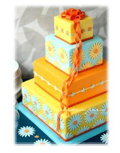 Colorful Orange And Blue Daisy Cake