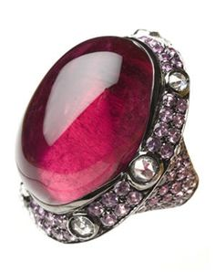 """Moon"" Ring by Repossi. 66-carat ruby cabochon in black gold with pink sapphires and diamonds."