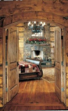 We offer you a gallery of festive homes to get you in the holiday spirit. home rustic, Festive Log Homes Get into the Holiday Spirit Log Cabin Living, Log Cabin Homes, Log Cabins, Log Cabin Bedrooms, Rustic Bedrooms, Cabins And Cottages, Cabins In The Woods, Cabana, My Dream Home