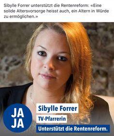 Sibylle Forrer unterstützt die Rentenreform: «Eine solide Altersvorsorge heisst auch, ein Altern in Würde zu ermöglichen.» #av2020