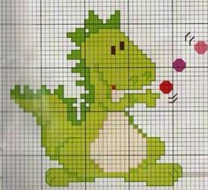 Dragon Cross Stitch, Cross Stitch Baby, Cross Stitch Charts, Cross Stitch Designs, Cross Stitch Patterns, Cross Stitching, Cross Stitch Embroidery, Crochet Dinosaur Patterns, Stitch Cartoon