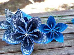 Royal Blue Handmade Paper Flowers A Dozen by GracelinePaperStudio, $26.50