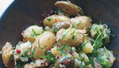 Crushed New Potatoes With Caper Berries - Food Republic Potato Sides, Potato Side Dishes, White Potatoes, Caper Berries, Artichoke Salad, Roasted Garlic Cloves, Vegan, Salads, Xmas