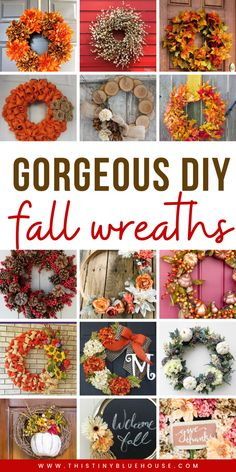 Best DIY Fall Decor Ideas - This Tiny Blue House Get your front door fall ready with one of these best DIY autumn wreaths. Easy and budget friendly these gorgeous wreaths are the best DIY Fall decor. Easy Fall Wreaths, Diy Fall Wreath, Wreath Crafts, Wreath Ideas, Holiday Wreaths, Diy Crafts, Fall Crafts For Kids, Thanksgiving Crafts, Holiday Crafts