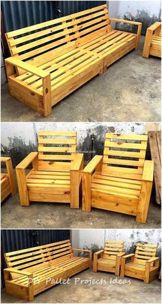 Pallet Garden Furniture, Outdoor Furniture Plans, Furniture Projects, Rustic Furniture, Furniture Decor, Diy Projects, Woodworking Projects, Furniture Outlet, Recycled Pallets