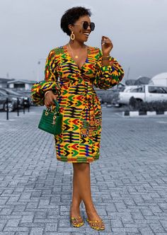 African Print Wrap Dress Puff Sleeves Kente Dress Ankara Dress African Print Clothing for Women Handmade Africa Dress African Fashion African Print Dresses, African Dresses For Women, African Attire, African Fashion Ankara, Latest African Fashion Dresses, Nigerian Fashion, African Style, African Design, African Fashion Style