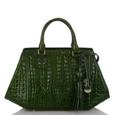 The #brahmin Arden Satchel in racing green la scala embossed leather. #fall2013