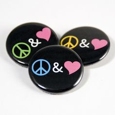 Peace & Love pinback buttons