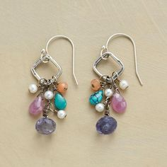 """ALLEGRO MOLTO EARRINGS -- Diamond shapes handcrafted of sterling silver dangle a symphony of gems including turquoise, pink sapphire, peach moonstone and a white pearl with iolite briolettes as the grand finales. French wires. Exclusive. 1-1/2""""L."""