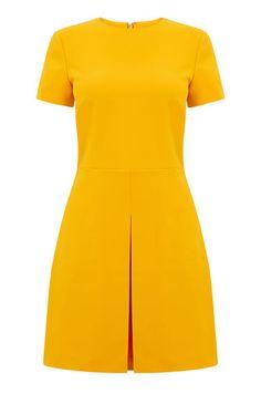 Warehouse, BOX PLEAT DRESS Yellow 0
