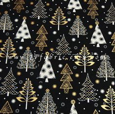 Christmas Tree Fabric. Silver and Gold christmas tree by JPfabric
