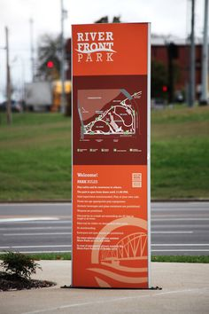 Riverfront Park and Amphitheater — McCoy Design Map Signage, Wayfinding Signs, Signage Design, System Map, Guide System, Sign System, Name Board Design, Signage Systems, Cumberland River