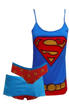 DC Comics Super Girl Cami Panty Set So much fun! These camisole and panty sets for women feature the DC Comics SuperGirl outfit...