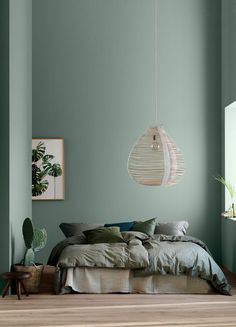 Modern Earthy Home Decor: Soothing bohemian bedroom with soft pistachio green blue walls and rattan hanging lamp Bedroom Green, Bedroom Colors, Home Decor Bedroom, Bedroom Ideas, Bedroom Wall, Bedroom Styles, Olive Green Bedrooms, Bedroom Mint, Olive Bedroom