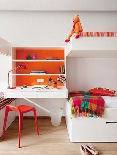 white desk with a bunk bed + orange. Design Stefano Giovannoni Magis Design.