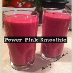 PINK POWER SMOOTHIE     1 cup strawberries    1 1/4 cup vanilla yogurt    1 banana    1 cup frozen strawberries    1 small beet (as you see I used the fiber shavings from a large beet I had previously juiced)    1/2 cup + soy milk (add soymilk while blending until smoothie reaches desired consistency)    ***Add ingredients together and blend on high for a smooth, well blended meal replacement.***