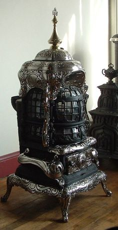 Antique Coal-Burning Stoves | Wood and Coal Stoves – Wood Burning Buck Stove Units Heaters and Coal Burning Stove, Coal Stove, Buck Stove, Antique Wood Stove, How To Antique Wood, Antique Cast Iron Stove, Gothic Furniture, Unique Furniture, Eclectic Furniture