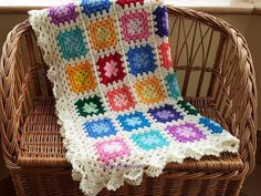There where is Soleil...: Bright Baby Blankets - Granny Square Crochet - love the border on these blankets